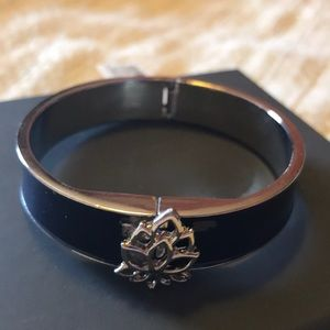 Navy Blue and Silver Lotus Bangle Bracelet NWT